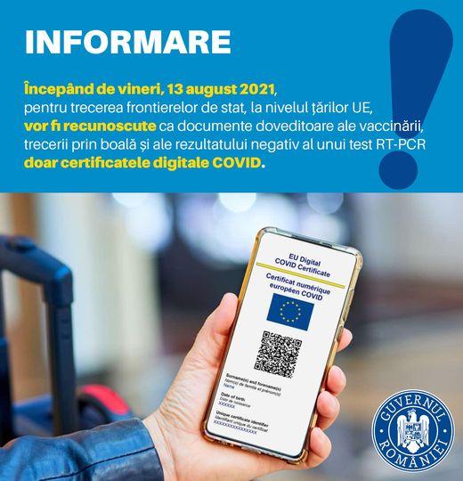 Ministerul Sanatatii informeaza-doar certificatele digitale COVID vor fi recunoscute in Uniunea Europeana din 13 august.